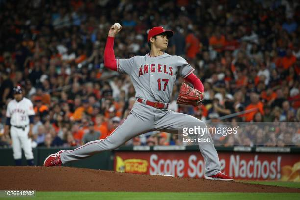 Shohei Ohtani of the Los Angeles Angels pitches during the game against the Houston Astros at Minute Maid Park on Sunday September 2 2018 in Houston...