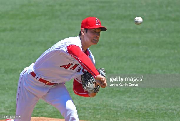 Shohei Ohtani of the Los Angeles Angels pitches in the first inning of the game against the Houston Astros at Angel Stadium of Anaheim on August 2,...