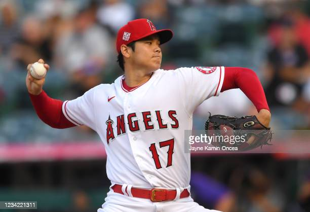 Shohei Ohtani of the Los Angeles Angels pitches in the first inning of the game against the Colorado Rockies at Angel Stadium of Anaheim on July 26,...
