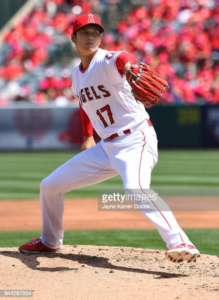 Shohei Ohtani of the Los Angeles Angels pitches in the game against the Oakland Athletics at Angel Stadium of Anaheim on April 8 2018 in Anaheim...