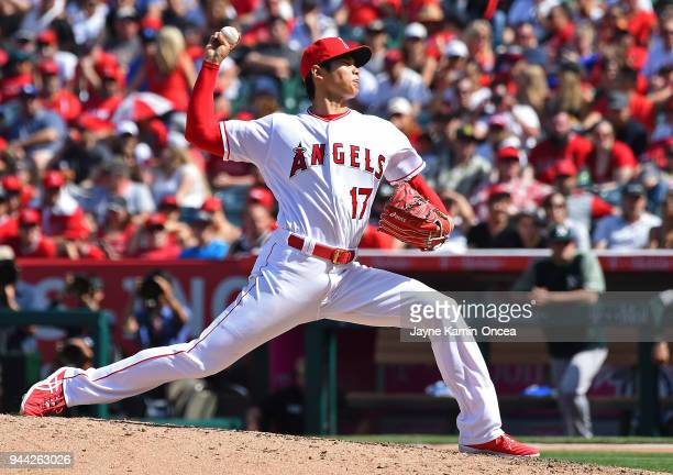 Shohei Ohtani of the Los Angeles Angels pitches in the game against the Oakland Athletics at Angel Stadium on April 8 2018 in Anaheim California