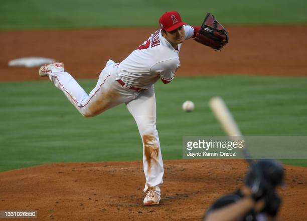 Shohei Ohtani of the Los Angeles Angels pitches in the second inning of the game against the Colorado Rockies at Angel Stadium of Anaheim on July 26,...
