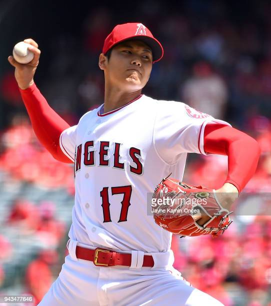 Shohei Ohtani of the Los Angeles Angels pitches in the second inning of the game against the Oakland Athletics at Angel Stadium on April 8 2018 in...
