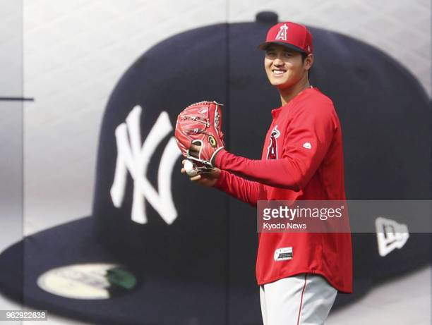 Shohei Ohtani of the Los Angeles Angels plays catch at Yankee Stadium in New York before a game against the New York Yankees on May 26 2018 ==Kyodo