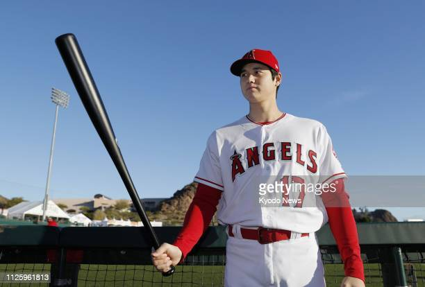 Shohei Ohtani of the Los Angeles Angels poses during Photo Day on Feb 19 in Tempe Arizona ==Kyodo