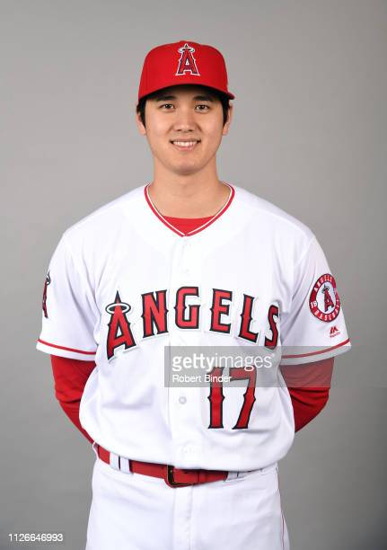 Shohei Ohtani of the Los Angeles Angels poses during Photo Day on Tuesday February 19 2019 at Tempe Diablo Stadium in Tempe Arizona