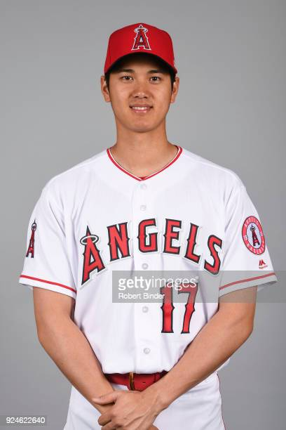 Shohei Ohtani of the Los Angeles Angels poses during Photo Day on Thursday February 22 2018 at Tempe Diablo Stadium in Tempe Arizona