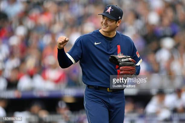 Shohei Ohtani of the Los Angeles Angels reacts in the first inning during the 91st MLB All-Star Game at Coors Field on July 13, 2021 in Denver,...