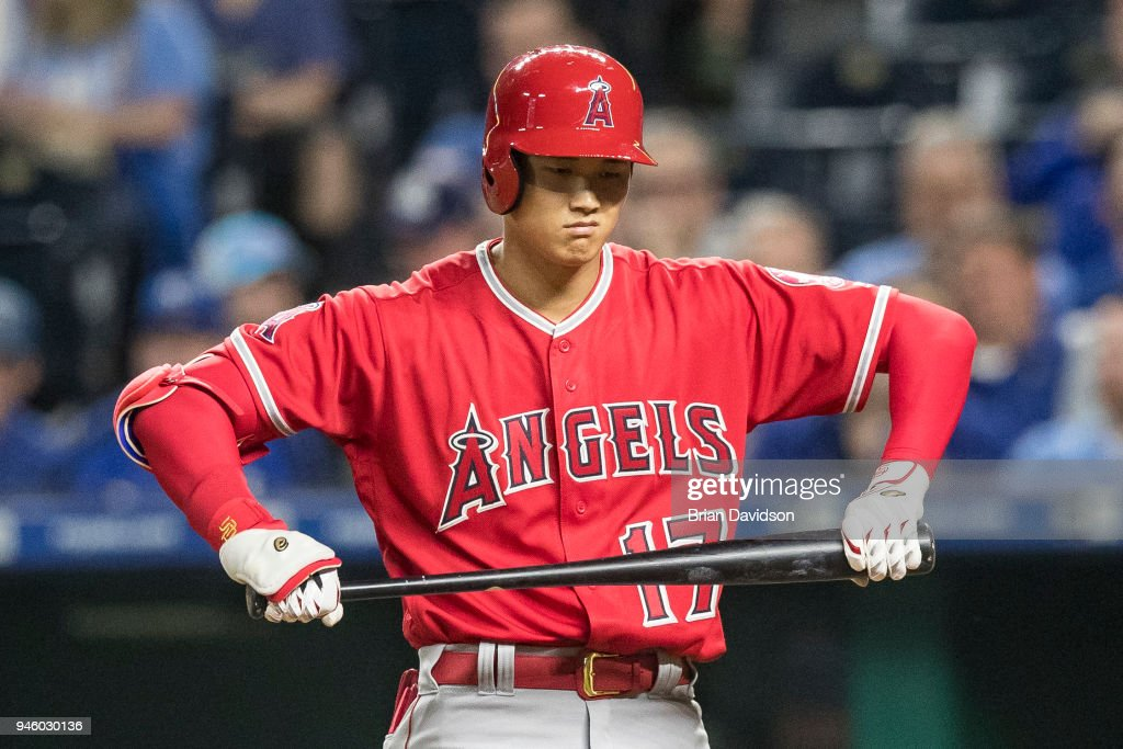 Shohei Ohtani #17 of the Los Angeles Angels reacts to a strike during the fourth inning against the Kansas City Royals at Kauffman Stadium on April 13, 2018 in Kansas City, Missouri.