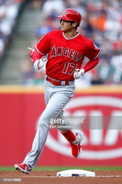 Shohei Ohtani of the Los Angeles Angels rounds the bases after hitting a two run home run off Mike Clevinger of the Cleveland Indians during the...