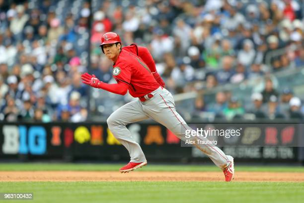 Shohei Ohtani of the Los Angeles Angels runs from first to second base during a game against the New York Yankees at Yankee Stadium on Sunday May 27...