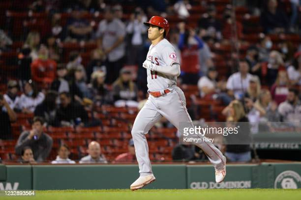 Shohei Ohtani of the Los Angeles Angels runs the bases after hitting a solo home run in the sixth inning against the Boston Red Sox at Fenway Park on...