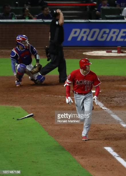 Shohei Ohtani of the Los Angeles Angels runs the bases against the Texas Rangers at Globe Life Park in Arlington on September 5 2018 in Arlington...