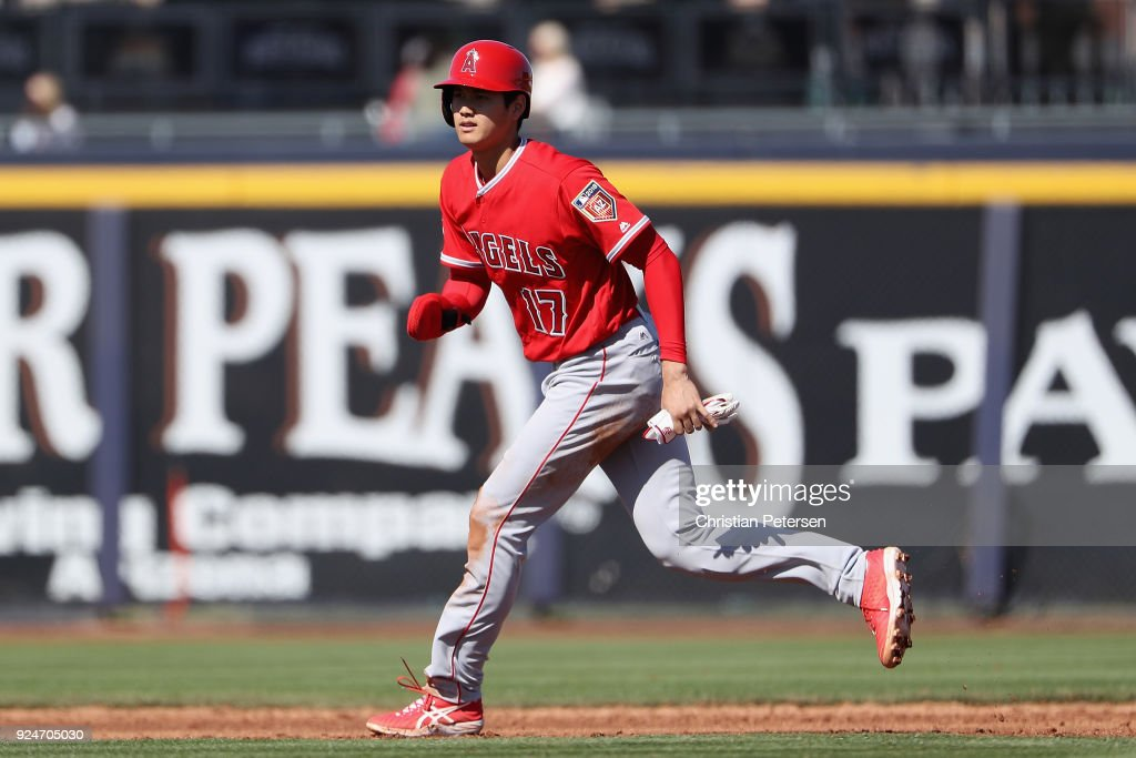 Shohei Ohtani #17 of the Los Angeles Angels runs the bases during the third inning of the spring training game against the San Diego Padres at Peoria Stadium on February 26, 2018 in Peoria, Arizona.