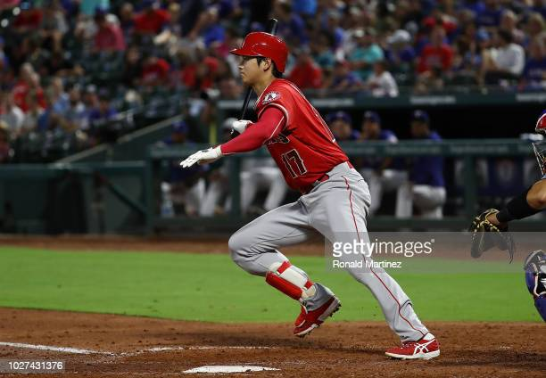 Shohei Ohtani of the Los Angeles Angels singles against the Texas Rangers in the second inning at Globe Life Park in Arlington on September 5, 2018...