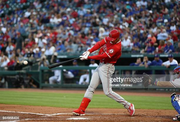 Shohei Ohtani of the Los Angeles Angels singles against the Texas Rangers in the second inning at Globe Life Park in Arlington on April 11 2018 in...