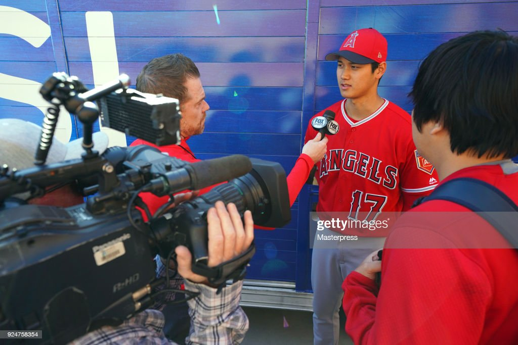 Shohei Ohtani of the Los Angeles Angels speaks after the game between Sand Diego Padres and Los Angeles Angels on February 26, 2018 in Peoria, Arizona.