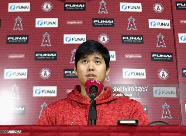 Shohei Ohtani of the Los Angeles Angels speaks at a press conference in Anaheim California on Sept 30 ahead of the season's last game at the home...