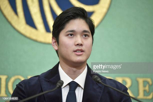 Shohei Ohtani of the Los Angeles Angels speaks at a press conference in Tokyo on Nov. 22 reflecting on his rookie season in the major leagues. The...