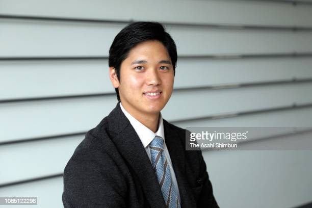 Shohei Ohtani of the Los Angeles Angels speaks during the Asahi Shimbun interview on December 2 2018 in Tokyo Japan