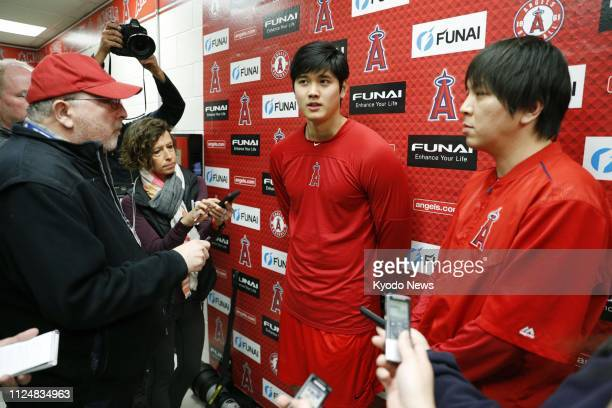 Shohei Ohtani of the Los Angeles Angels speaks to reporters on the first day of the team's spring training camp in Tempe Arizona on Feb 13 2019...