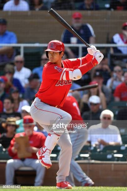 Shohei Ohtani of the Los Angeles Angels stands at bat in the second inning of the spring training game against the Arizona Diamondbacks at Salt River...