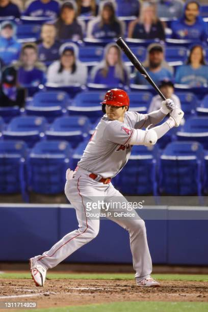 Shohei Ohtani of the Los Angeles Angels stands at the plate during the fifth inning against the Toronto Blue Jays at TD Ballpark on April 09, 2021 in...