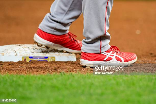 Shohei Ohtani of the Los Angeles Angels stands on third base during the eighth inning against the Kansas City Royals at Kauffman Stadium on April 13...