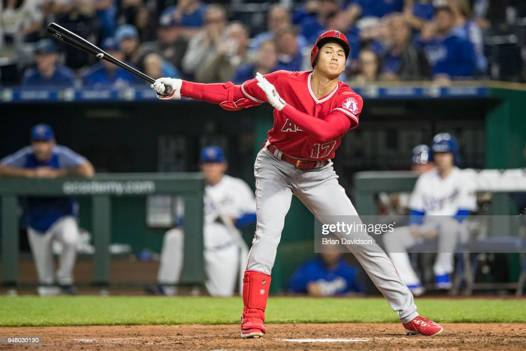Shohei Ohtani #17 of the Los Angeles Angels swings at the ball during the fourth inning against the Kansas City Royals at Kauffman Stadium on April 13, 2018 in Kansas City, Missouri.