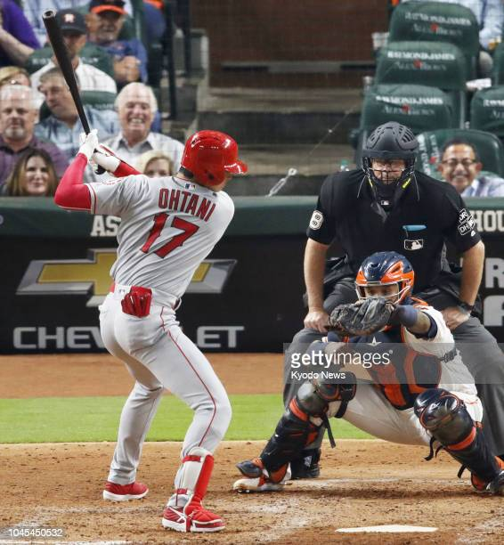 Shohei Ohtani of the Los Angeles Angels takes a ball on his way to a walk in the sixth inning of a game against the Houston Astros on Aug 30 in...