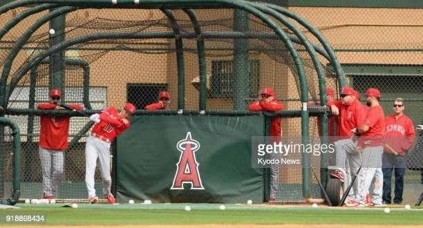 Shohei Ohtani of the Los Angeles Angels takes batting practice at the club's spring training site in Tempe Arizona on Feb 15 2018 ==Kyodo