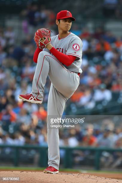 Shohei Ohtani of the Los Angeles Angels throws a first inning pitch while playing the Detroit Tigers at Comerica Park on May 30 2018 in Detroit...