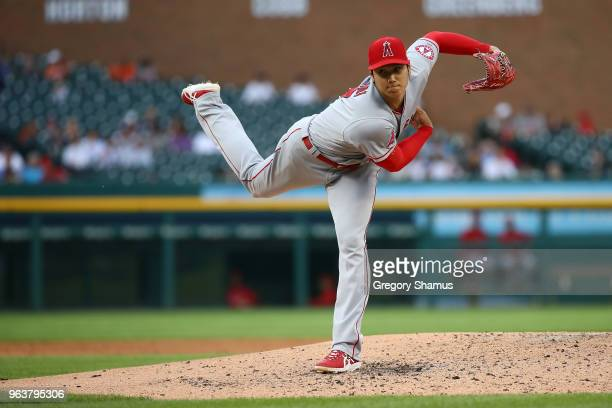 Shohei Ohtani of the Los Angeles Angels throws a third inning pitch while playing the Detroit Tigers at Comerica Park on May 30, 2018 in Detroit,...
