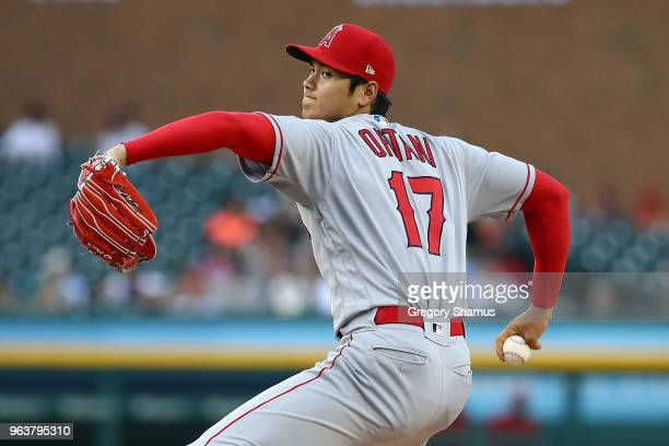 Shohei Ohtani of the Los Angeles Angels throws a third inning pitch while playing the Detroit Tigers at Comerica Park on May 30 2018 in Detroit...