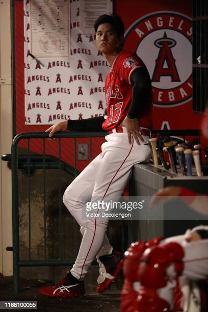 Shohei Ohtani of the Los Angeles Angels watches a ball go foul from third base in the eighth inning of the MLB game against the Pittsburgh Pirates at...