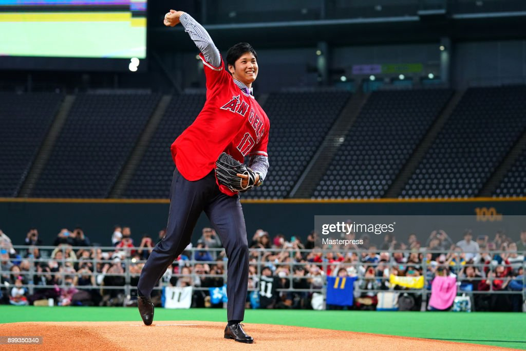 Shohei Ohtani of the Los Angeles Angels waves to fans during his farewell event at Sapporo Dome on December 25, 2017 in Sapporo, Hokkaido, Japan.