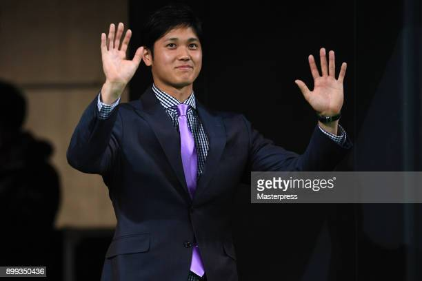 Shohei Ohtani of the Los Angeles Angels waves to fans during his farewell event at Sapporo Dome on December 25 2017 in Sapporo Hokkaido Japan