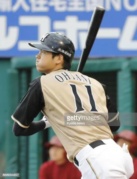 Shohei Ohtani of the Nippon Ham Fighters hits his 22nd home run of the season at Kobo Stadium Miyagi in Sendai Japan on Sept 10 2016 ==Kyodo