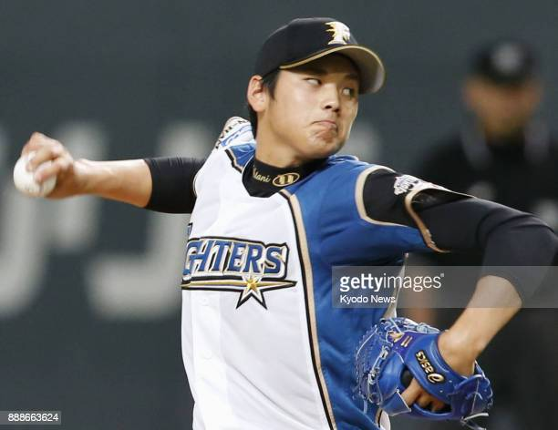 Shohei Ohtani of the Nippon Ham Fighters pitches against the Chunichi Dragons at Sapporo Dome on June 1 2013 Ohtani picked up his first career win...