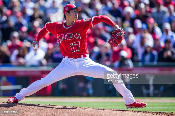 Shohei Ohtani pitcher of the Los Angeles Angels of Anaheim pitches against the Milwaukee Brewers during a Spring Training Game at Goodyear Ballpark...