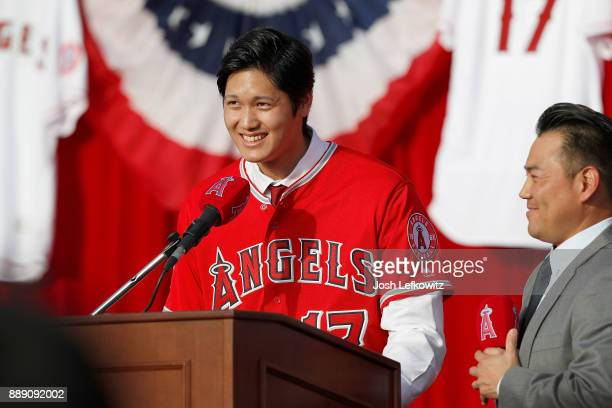Shohei Ohtani speaks onstage as he is introduced to the Los Angeles Angels of Anaheim at Angel Stadium of Anaheim on December 9, 2017 in Anaheim,...
