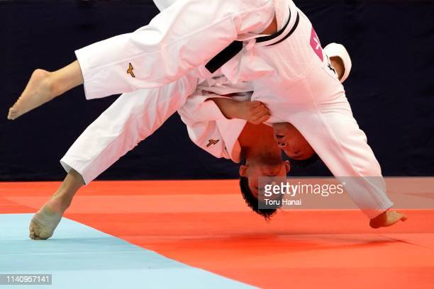 Shohei Ono and Masashi Ebinuma compete in the Men's 73kg semi final match during day two of the All Japan Judo Championships By Weight Category at...