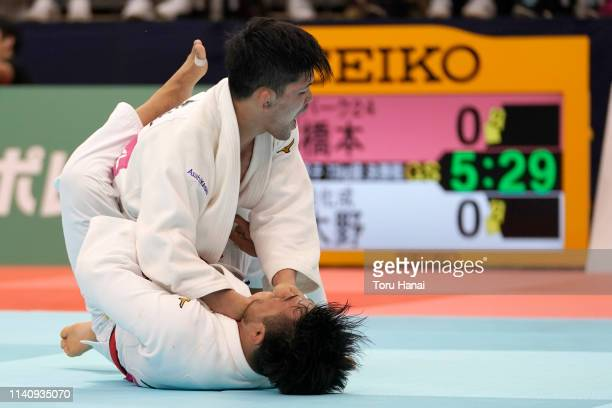 Shohei Ono and Soichi Hashimoto compete in the Men's 73kg final match during day two of the All Japan Judo Championships By Weight Category at the...