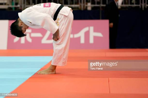 Shohei Ono bows after defeating Soichi Hashimoto in the Men's 73kg final match during day two of the All Japan Judo Championships By Weight Category...