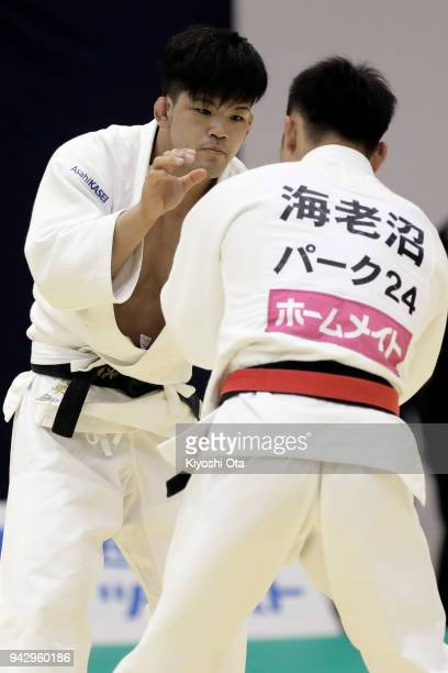 Shohei Ono competes against Masashi Ebinuma in the Men's 73kg semifinal match on day one of the All Japan Judo Championships by Weight Category at...