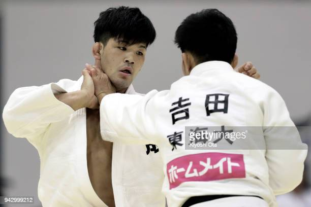 Shohei Ono competes against Yuhei Yoshida in the Men's 73kg match on day one of the All Japan Judo Championships by Weight Category at Fukuoka...