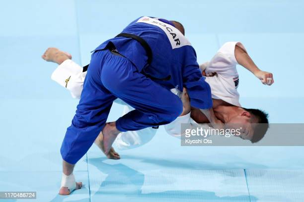 Shohei Ono of Japan and Denis Iartcev of Russia compete in the Men's -73kg semi final on day three of the World Judo Championships at the Nippon...