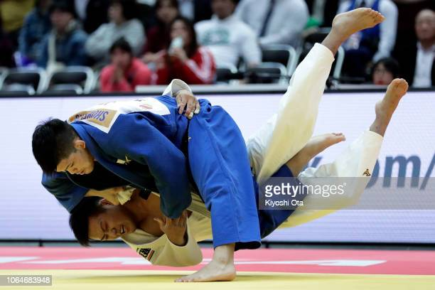 Shohei Ono of Japan competes against Arata Tatsukawa of Japan in the Men's 73kg semifinal match on day two of the Grand Slam Osaka at Maruzen Intec...