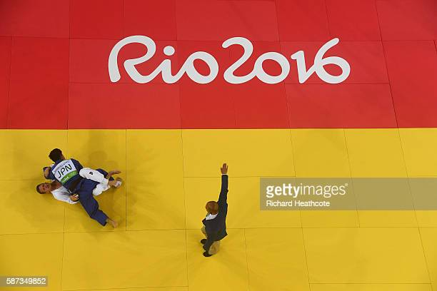 Shohei Ono of Japan defeats Dirk van Tichelt of Belgium in the Men's 73 kg Semifinal of Table A Judo match on Day 3 of the Rio 2016 Olympic Games at...