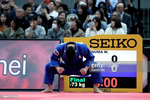 Shohei Ono of Japan prepares for the Men's 73kg final match against Masashi Ebinuma of Japan on day two of the Grand Slam Osaka at Maruzen Intec...